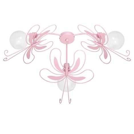 Detské stropné svietidlo MOTÝĽ 3xE27/60W ružová