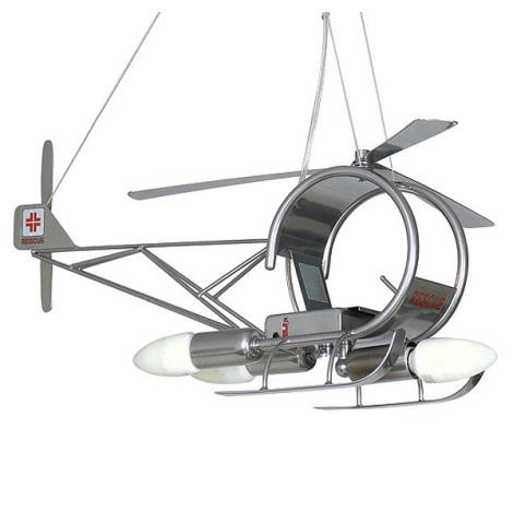 Detský luster helikoptéra - stříbrná
