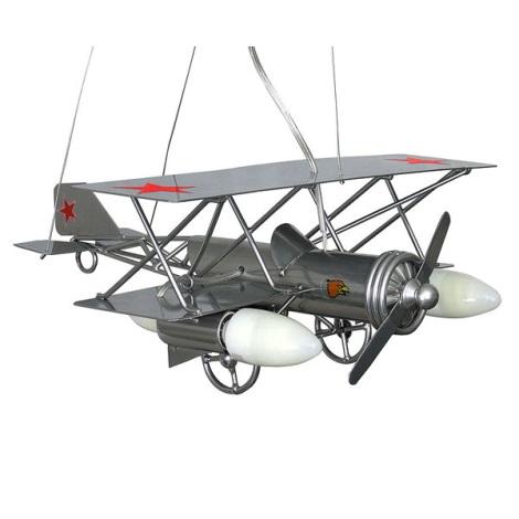 Detský luster lietadlo - stříbrná