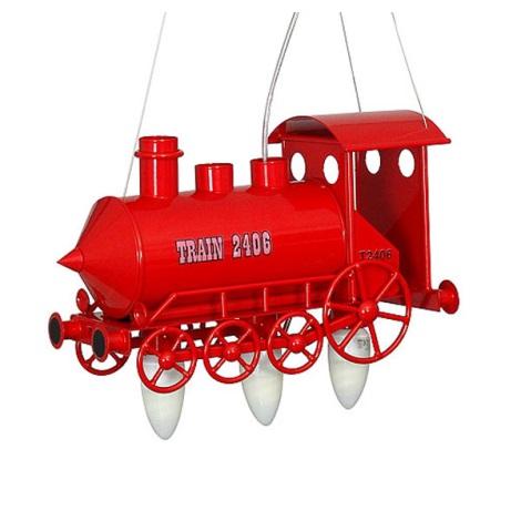 Detský luster lokomotíva - červená