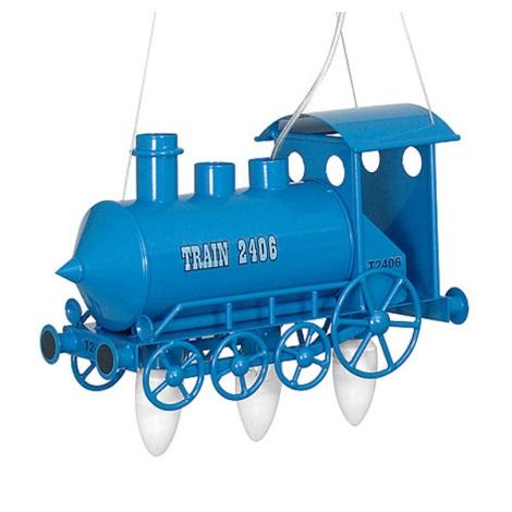 Detský luster lokomotíva - modrá