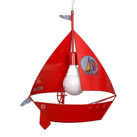 Detský luster plachetnica - červená