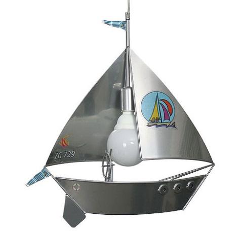 Detský luster plachetnica - stříbrná