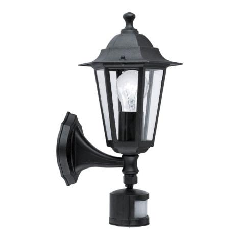 EGLO 22469 - svietidlo sa senzorem LATERNA 4 1xE27/60W čierna