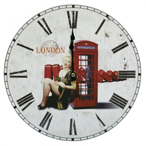 Eglo 41185 - Nástenné hodiny Telefónna búdka