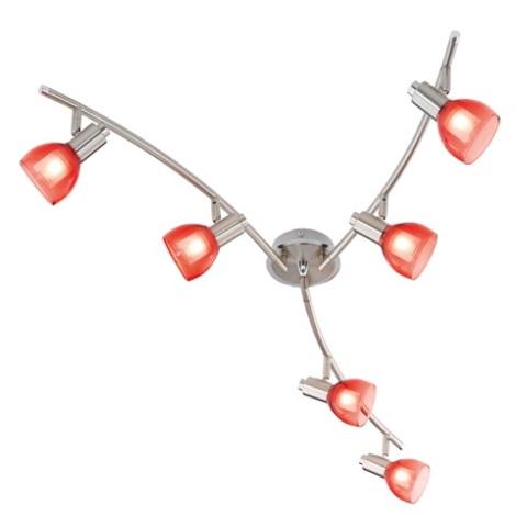 EGLO 51887 - bodové svietidlo ROSARO 6xG9/40W biela / červená