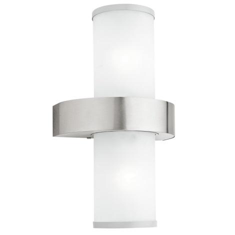 EGLO 86541 - vonkajšie nástenné svietidlo BEVERLY 2xE27/60W strieborná / biela