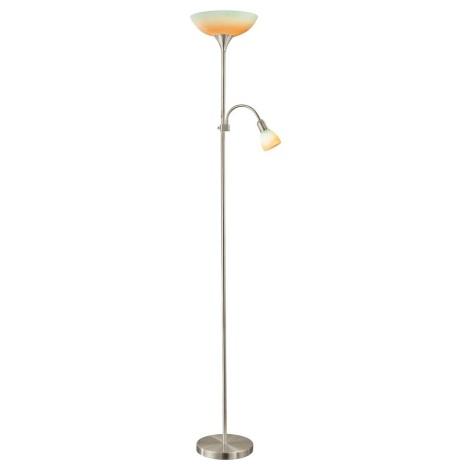EGLO 86655 - UP 4 1xE27/60W + 1xE14/40W Stojanová lampa matný nikel / žltá / oranžová