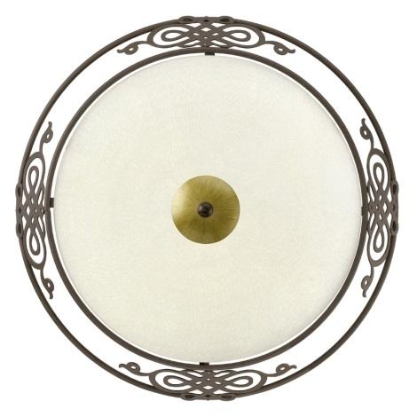 EGLO 86712 - stropné nástenné svietidlo MESTRE 2xE27 / 60W antická hnedá/zlatá/béžové sklo