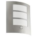 EGLO 88142 - Senzorové vonkajšie nástenné svietidlo CITY 1xE27/15W/230V IP44