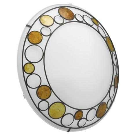 EGLO 89323 - stropné nástenné svietidlo TOLEDA 2xE27/60W biela/hnedá/oranžová
