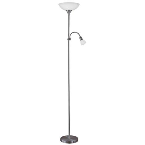 Eglo 93917 - LED stojacia lampa UP 2 1xE27/60W/230V + 1xE14/25W/230V chrom