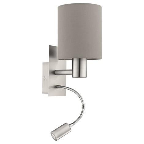 Eglo 94931 - LED nástenné svietidlo PASTERI 1xE27/60W + LED/2,4W