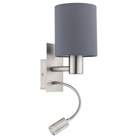 Eglo 94932 - LED nástenné svietidlo PASTERI 1xE27/60W + LED/2,4W