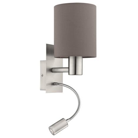 Eglo 94933 - LED nástenné svietidlo PASTERI 1xE27/60W + LED/2,4W