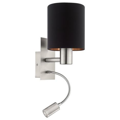 Eglo 95049 - LED nástenné svietidlo PASTERI 1xE27/60W + LED/2,4W