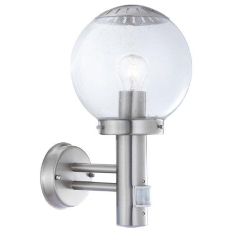 GLOBO 3180S - Vonkajšie nástenné svietidlo s čidlom BOWLE II 1xE27/60W/230V
