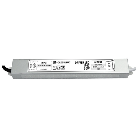 Greenlux GXLD008 - LED elektrický transformátor 12V/30W