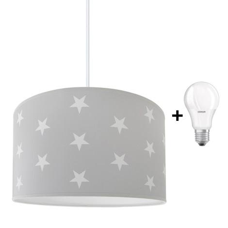 LED Detský luster STARS GREY 1xE27/9W/230V