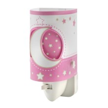 LED lampička do zásuvky PINK MOON LED/0,5W