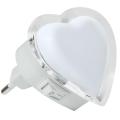 LED Nočné svetlo do zásuvky 0,4W/230V biele srdce