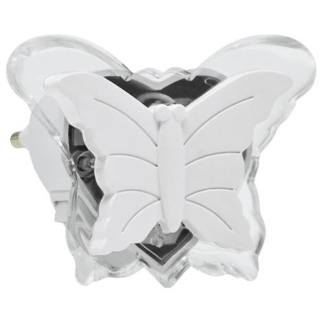 LED Nočné svetlo do zásuvky 0,4W/230V biely motýľ