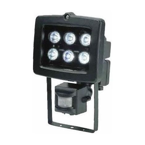 LED Reflektor T304 6xLED/6W/230V čierny, s PIR čidlom