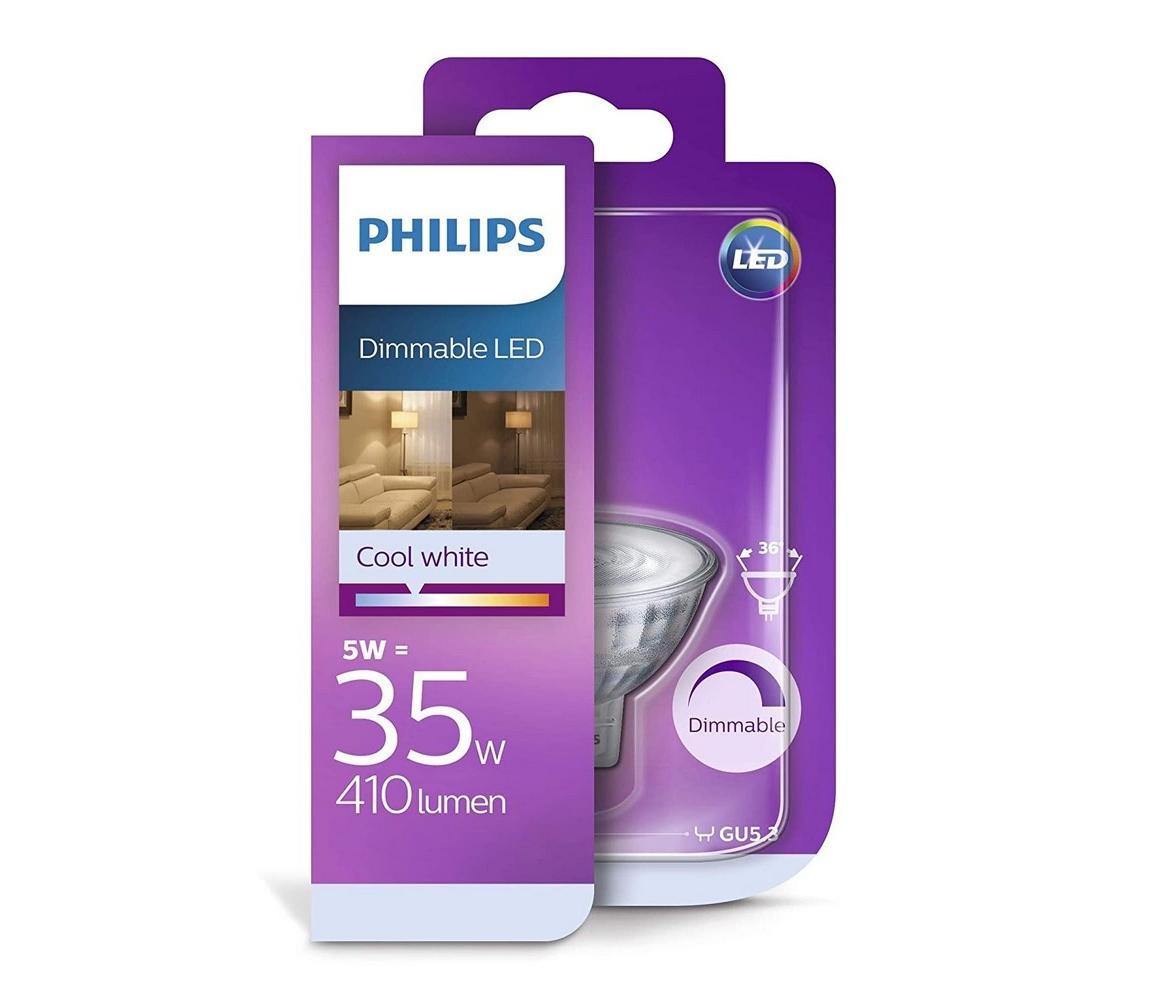 Philips LED Stmievateľná žiarovka Philips GU5,3/MR16/5W/12V 4000K