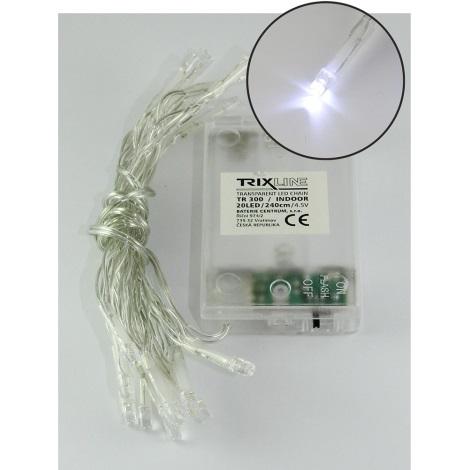 LED Vianočná reťaz 2,4 m 20xLED/3xAA 6500 K
