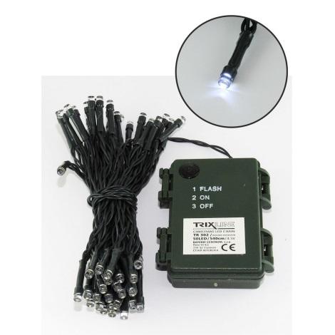 LED Vianočná vonkajšia reťaz 5,4 m 50xLED/3xAA 6500 K IP44