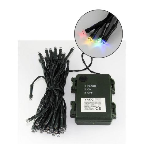 LED Vianočná vonkajšia reťaz 5,4 m 50xLED/3xAA farebná IP44