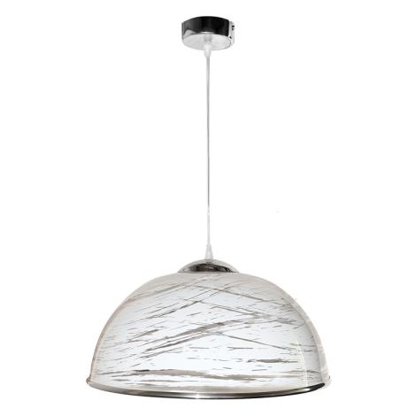 Luster na lanku AKRYL - chróm KS 1xE27/60W biela abstrakt
