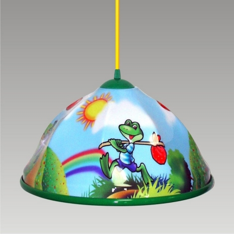 Luster na lanku AKRYL DZ 1xE27/60W žaba/zelená