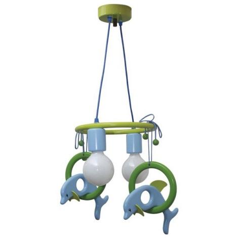 Luster závesný DELFÍN modrá/zelená