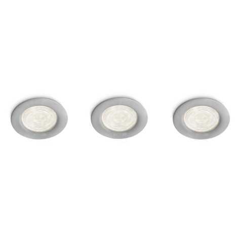 Philips 59100/87/16 - SET 3x LED bodové zapustené svietidlo MYLIVING SCEPTRUM 3xLED/4W/23V šedá