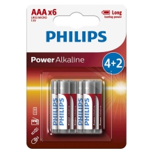 Philips LR03P6BP/10 - 6 ks Alkalická batéria AAA POWER ALKALINE 1,5V