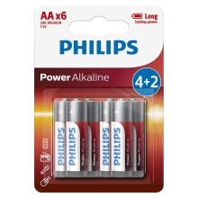 Philips LR6P6BP/10 - 6 ks Alkalická batéria AA POWER ALKALINE 1,5V