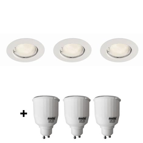 Philips Massive 59383/31/19 - SET 3x bodové zapustené svietidlo SCEPTRUM 3xGU10/7W biela