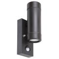 Rabalux - Vonkajšie nástenné svietidlo so senzorom 2xGU10/10W/230V IP44 čierna