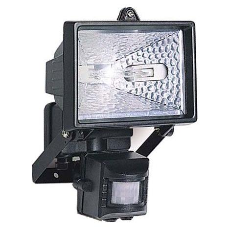 Reflektor 1xR7S/150W/230V čierny, s PIR čidlom