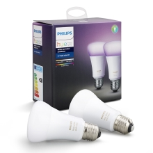 SADA 2x LED RGB Stmievateľná žiarovka Philips HUE WHITE AND COLOR AMBIANCE E27/10W/230V