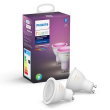 SADA 2x LED Stmievateľná žiarovka Philips WHITE AND COLOR AMBIANCE GU10/5,7W/230V 2000-6500K