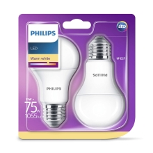 SADA 2x LED žiarovka Philips E27/11W/230V