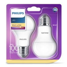SADA 2x LED žiarovka Philips E27/13W/230V