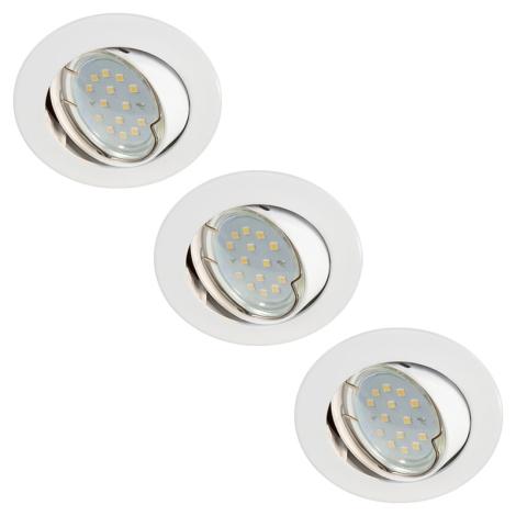 SADA 3x LED Kúpeľňové svietidlo 3xLED-GU10/3W/230V + žiarovky 3xGU10/50W ZDARMA