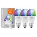 SADA 3x LED RGBW Stmievateľná žiarovka SMART+ E27/9,5W/230V 2700K-6500K Wi-Fi - Ledvance
