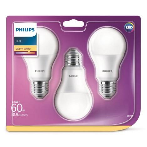 SADA 3x LED Žiarovka Philips A60 E27/8,5W/230V 2700K