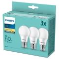 SADA 3x LED Žiarovka Philips A60 E27/8W/230V 2700K