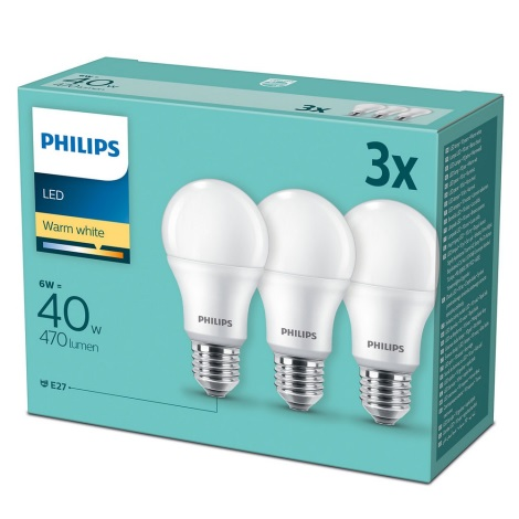 SADA 3x LED Žiarovka Philips E27/6W/230V 2700K