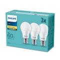 SADA 3x LED Žiarovka Philips E27/9W/230V 2700K